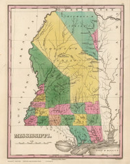 Mississippi 1824 Finley - Old State Map Reprint