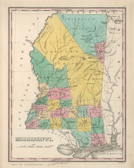 Mississippi 1827 Finley - Old State Map Reprint