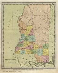 Mississippi 1835 Illman - Old State Map Reprint