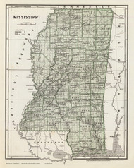 Mississippi 1845 Breese - Old State Map Reprint