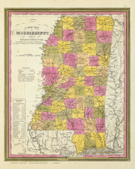 Mississippi 1846 Mitchell - Old State Map Reprint
