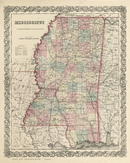 Mississippi 1855 Colton - Old State Map Reprint