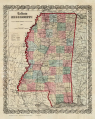 Mississippi 1860 Colton - Old State Map Reprint