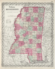 Mississippi 1865 Colton - Old State Map Reprint