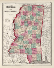 Mississippi 1873 Gray - Old State Map Reprint