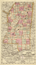 Mississippi 1878 Cram - Old State Map Reprint