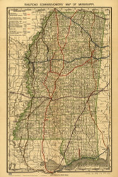 Mississippi 1888 Rand, McNally & Co. - Old State Map Reprint