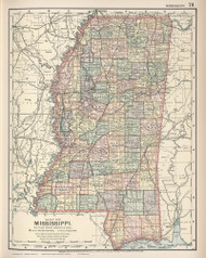Mississippi 1891 Matthews - Northrup Co. - Old State Map Reprint