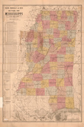 Mississippi 1892 Rand, McNally & Co. - Old State Map Reprint