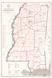 Mississippi 1969 United States Post Office Department - Old State Map Reprint