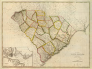 South Carolina 1822 Tanner - Old State Map Reprint