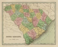 South Carolina 1838 Bradford - Old State Map Reprint