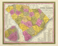 South Carolina 1846 Mitchell - Old State Map Reprint