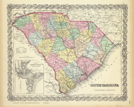 South Carolina 1856 Colton - Old State Map Reprint