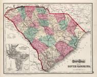 South Carolina 1873 Gray - Old State Map Reprint