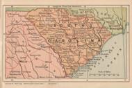 South Carolina 1893 Bradstreet - Old State Map Reprint