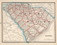 South Carolina 1893 Cram - Old State Map Reprint