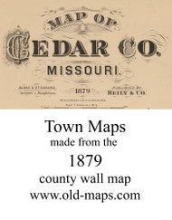 Map Cartouche, Cedar Co. Missouri 1879 Old Town Map Custom Print