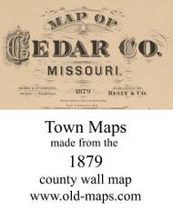 Map Cartouche, Cedar Co. Missouri 1879 Old Town Map Custom Print