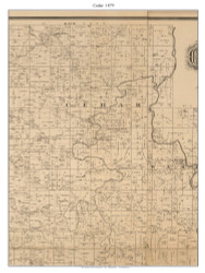 Cedar - Pleasant View - Lebeck, Missouri 1879 Old Town Map Custom Print Cedar Co.
