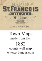 Map Cartouche, St. Francois Co. Missouri 1882 Old Town Map Custom Print