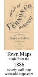Map Cartouche, Vernon Co. Missouri 1886 Old Town Map Custom Print