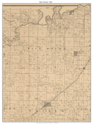 Blue Mound - Conley Springs - Belvoir, Missouri 1886 Old Town Map Custom Print Vernon Co.
