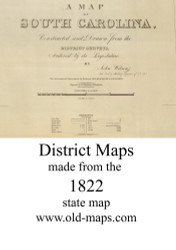 Wilson State Map Cartouche, 1822 South Carolina - Old Map Reprint