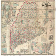 Maine 1862 Chace - Old State Map Reprint