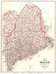 Maine 1887 Chace - Old State Map Reprint
