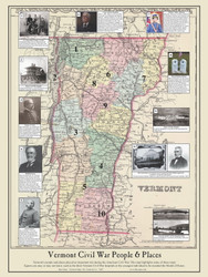 Vermont Civil War People and Places - 2014 - Vermont - Old Map  Reprint VT Specials