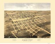 Paxton, Illinois 1869 Bird's Eye View