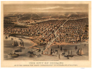 Chicago, Illinois 1871 (1878) Bird's Eye View - Flint - The City of Chicago as it was before the Conflagration of October 8th 9th & 10th, 1871