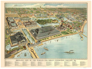 Chicago, Illinois 1893 Bird's Eye View -World's Columbian Exposition - Rand McNally