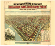 Chicago, Illinois 1897 Bird's Eye View - Rock Island & Pacific Railway Station