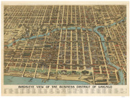 Chicago, Illinois 1898 Bird's Eye View of the Business District