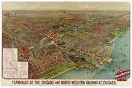 Chicago, Illinois 1902 Bird's Eye View -Terminals of the Chicago & North-Western Railroad in Chicago