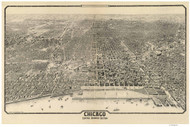 Chicago, Illinois 1916 Bird's Eye View - Central Business Section - Reincke - Black & White