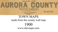 Map Cartouche, Aurora Co, South Dakota 1900 Old Town Map Custom Print - Aurora Co.