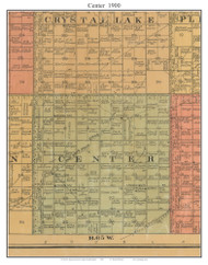 Center, South Dakota 1900 Old Town Map Custom Print - Aurora Co.