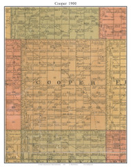Cooper, South Dakota 1900 Old Town Map Custom Print - Aurora Co.
