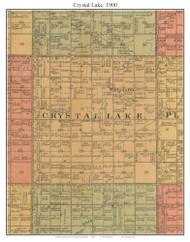 Crystal Lake, South Dakota 1900 Old Town Map Custom Print - Aurora Co.