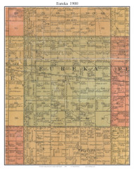 Eureka, South Dakota 1900 Old Town Map Custom Print - Aurora Co.