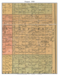 Hopper, South Dakota 1900 Old Town Map Custom Print - Aurora Co.