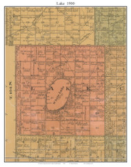 Lake, South Dakota 1900 Old Town Map Custom Print - Aurora Co.