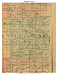 Palatine, South Dakota 1900 Old Town Map Custom Print - Aurora Co.