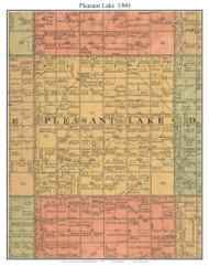 Pleasant Lake, South Dakota 1900 Old Town Map Custom Print - Aurora Co.