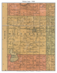 White Lake, South Dakota 1900 Old Town Map Custom Print - Aurora Co.