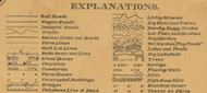 Map Explanations,  Aurora Co., South Dakota 1900 Old Town Map Custom Print -