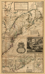 New England 1731 Old Map Reprint - Moll - Beaver